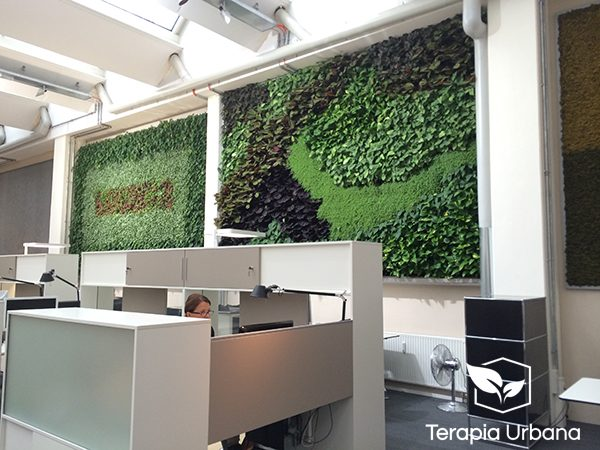 Jardin vertical interior en oficina showroom de empresa for Jardines verticales para interiores