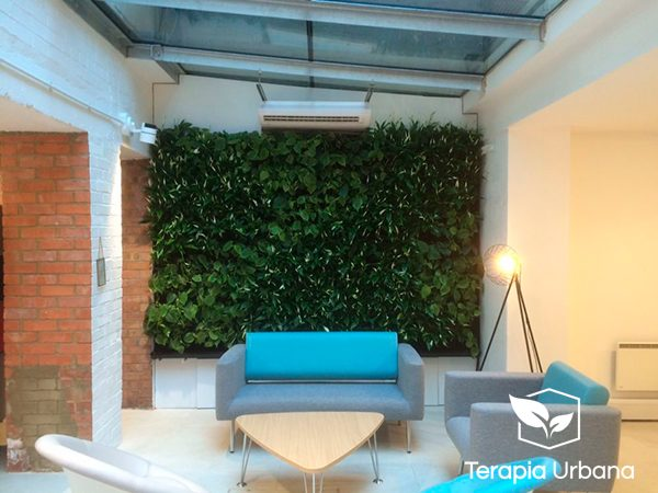 Jard n vertical interior en showroom connection terapia for Jardin vertical interior